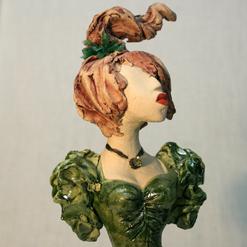 vintahe green ruffles sleeves TN