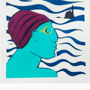Limited edition Screen prints>Bather with purple cap