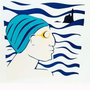 Limited edition Screen prints>Bather with blue cap,
