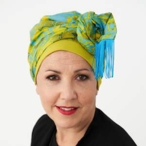 Lime and turquoise fringed turban + cap
