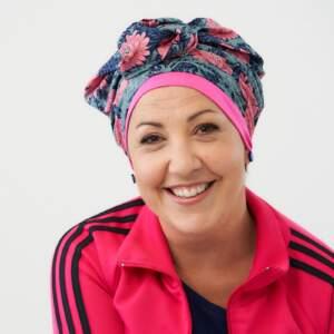 Pink floral –  turban + bamboo cap