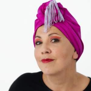 Hot pink fringe – turban + bamboo cap