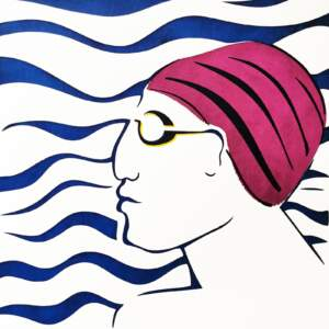 Bather with goggles
