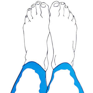 Feet in blue