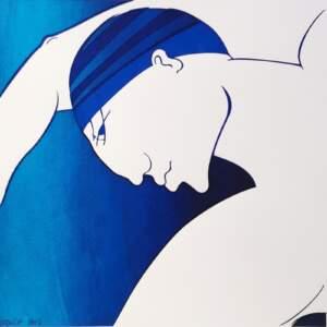 Swimmer in blue