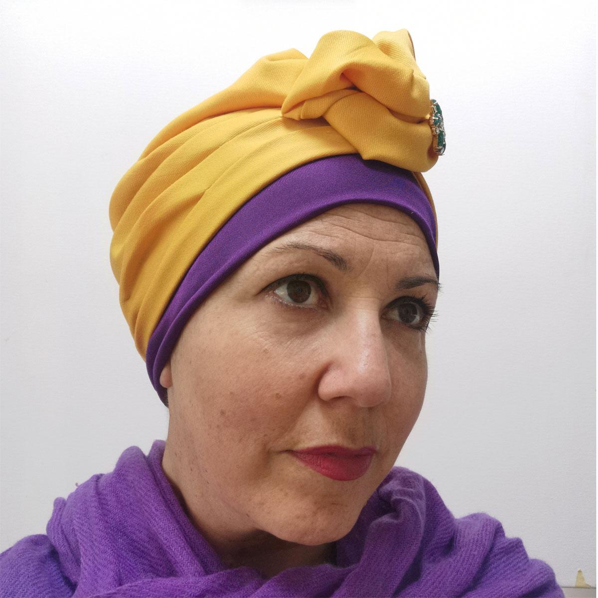 Mustard sparkle – turban + silk cap